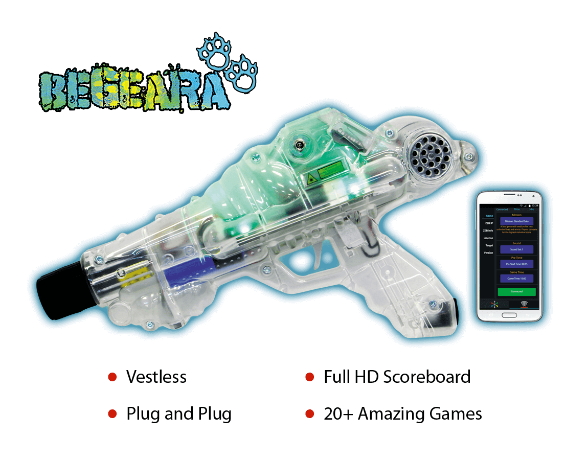 Laser Tag  Begeara System, Vestless, Plug and Plug, Full HD Scoreboard, 20+ Amazing Games - zone laser tag products, laser tag software, laser tag system, laser tag equipment, laser tag wholesaler, laser tag manufacturing, laser tag manufacturer, zone laser tag, laser tag, zone laser tag equipment